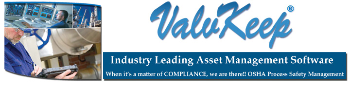 Valvkeep Online Valve Asset and Maintenance Management software
